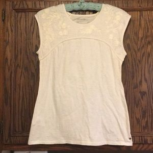 Eddie Bauer cream embroidered dressy tank - Medium